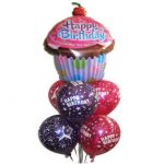 Birthday Cup Cake Balloon Bouquet