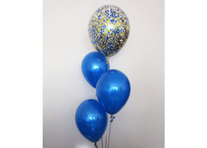 Blue Gold Confetti Balloon Arrangement