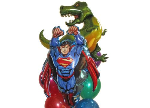 Dinosaur Superman Balloon Bouquet